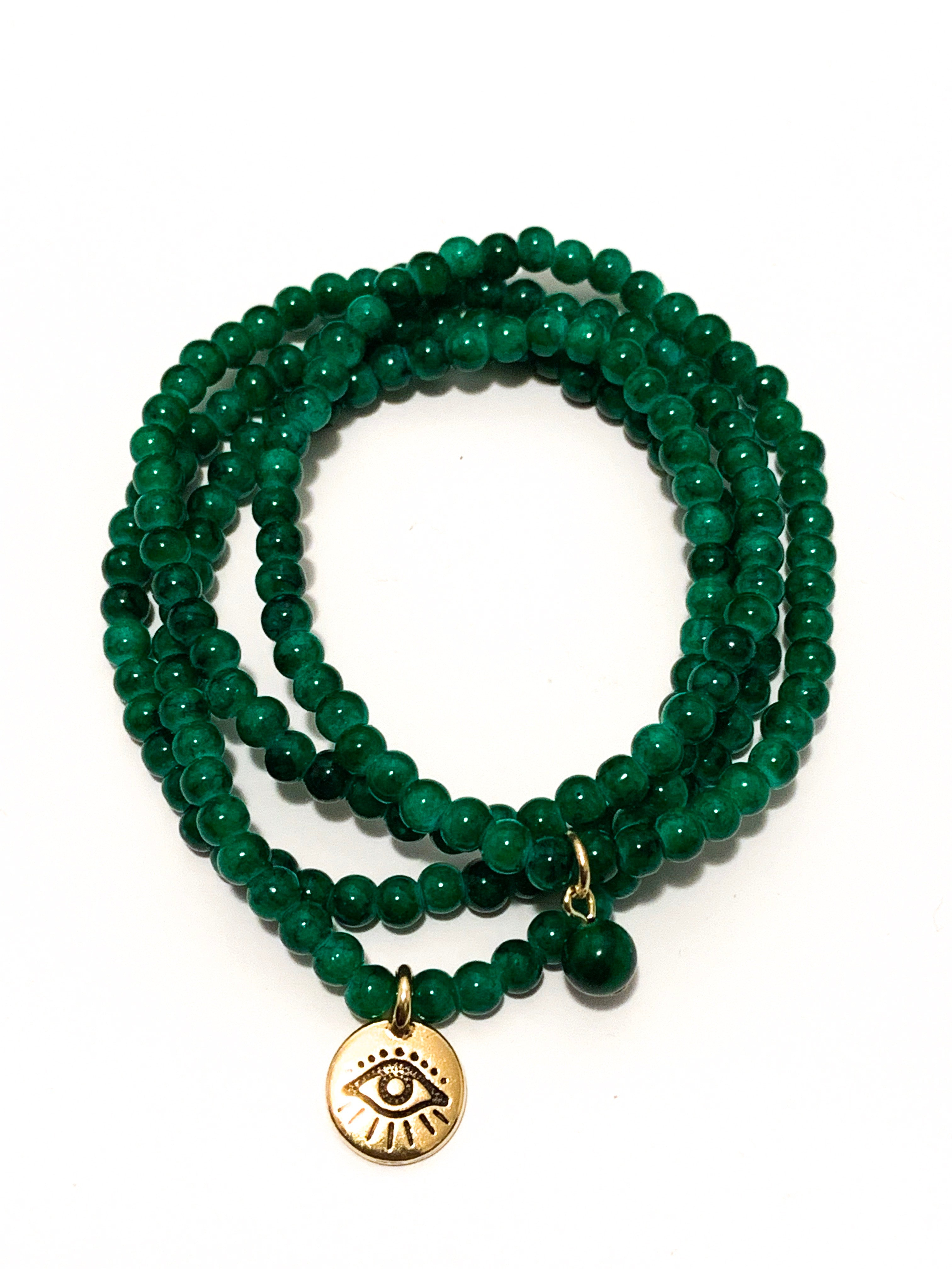 PROSPERITY- Dark Green Jade Bracelet Set