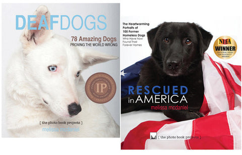 NEW: Rescued in America & Deaf Dogs photo books with beautiful laminated dust jackets