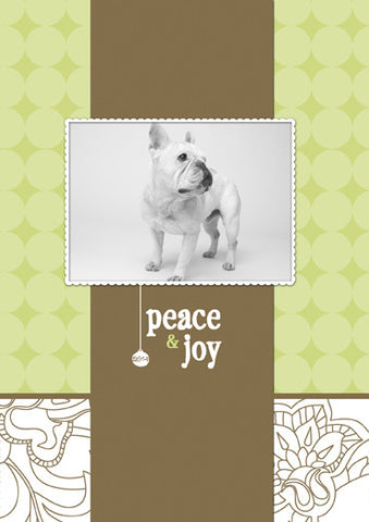"Custom Christmas Card: PEACE & JOY SEASONS GREETINGS - 5""x7"" folded vertical"