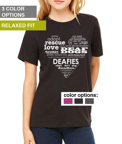Deaf Dogs Heart T-Shirt - Women's Relaxed Fit T-Shirt (1 color option remains)
