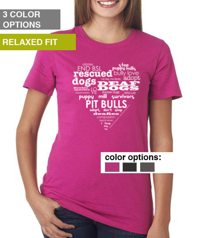 Rescue Dog Heart T-Shirt - Women's Relaxed Fit T-Shirt (3 color options available)