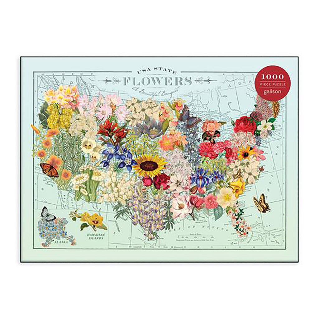 1000 Piece Wendy Gold USA State Flowers Puzzle