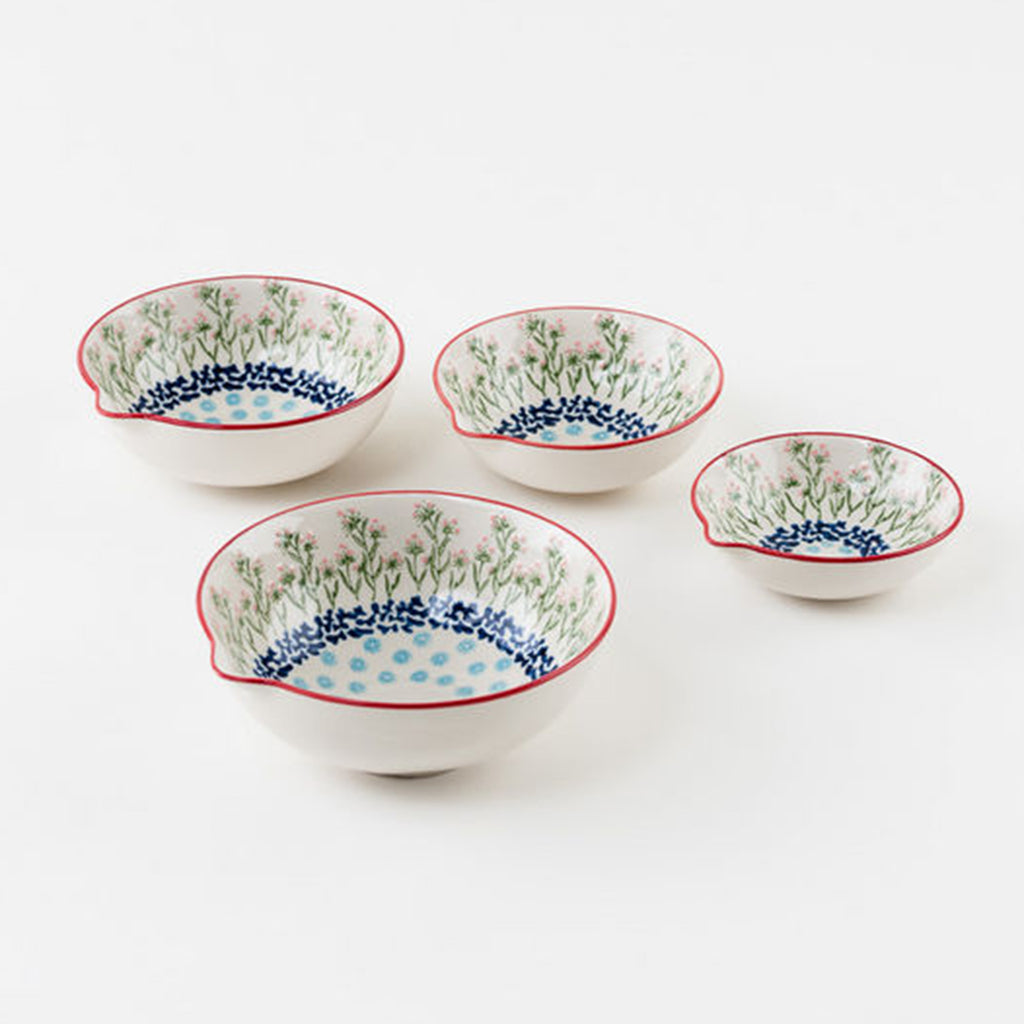 chelsea park pattern stoneware pouring bowls set of 4