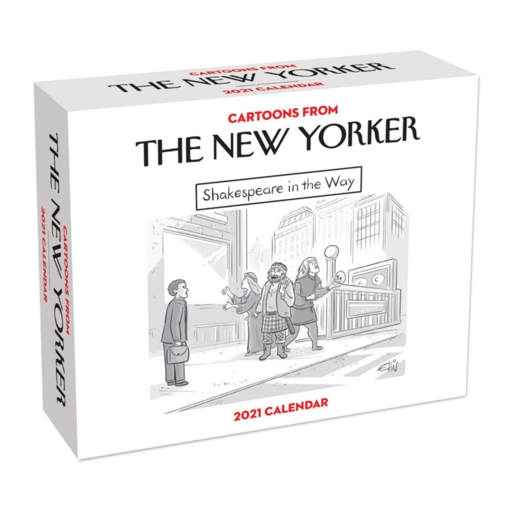 "cartoons from the new yorker 2021 calendar in white box with cartoon titled ""shakespeare in the way"""