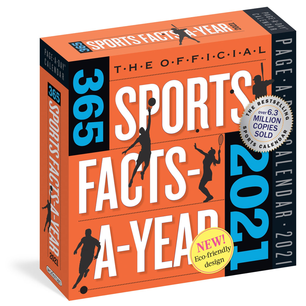 365 sports facts page a day calendar in orange box with white and blue text