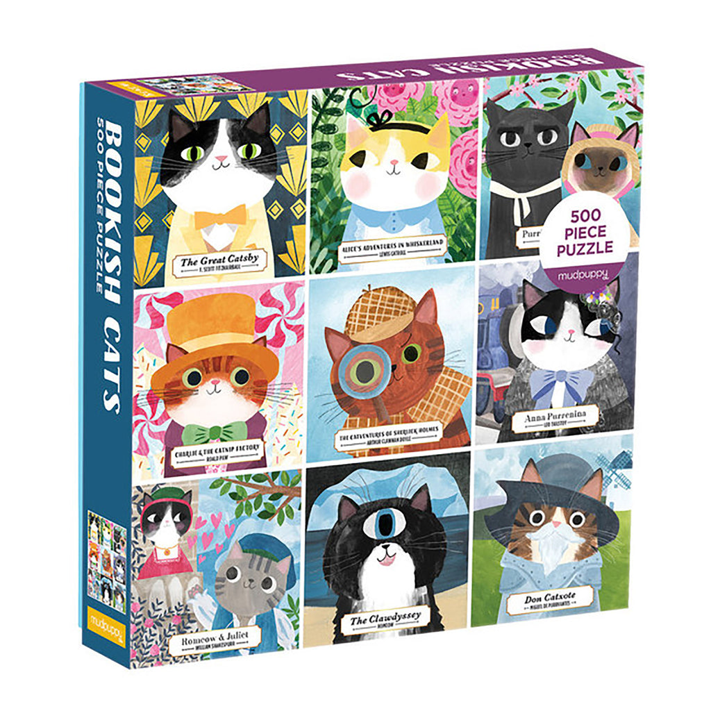 500 Piece Bookish Cats Jigsaw Puzzle