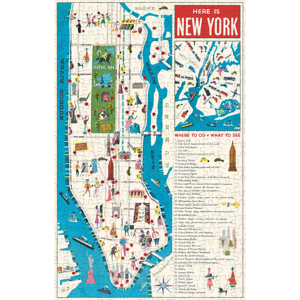 500 Piece NYC Map Jigsaw Puzzle
