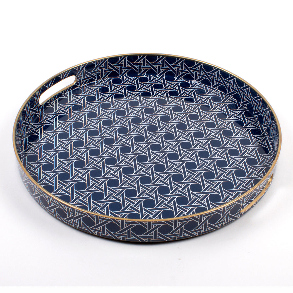 8 oak lane navy and gold round cane patterned serving tray