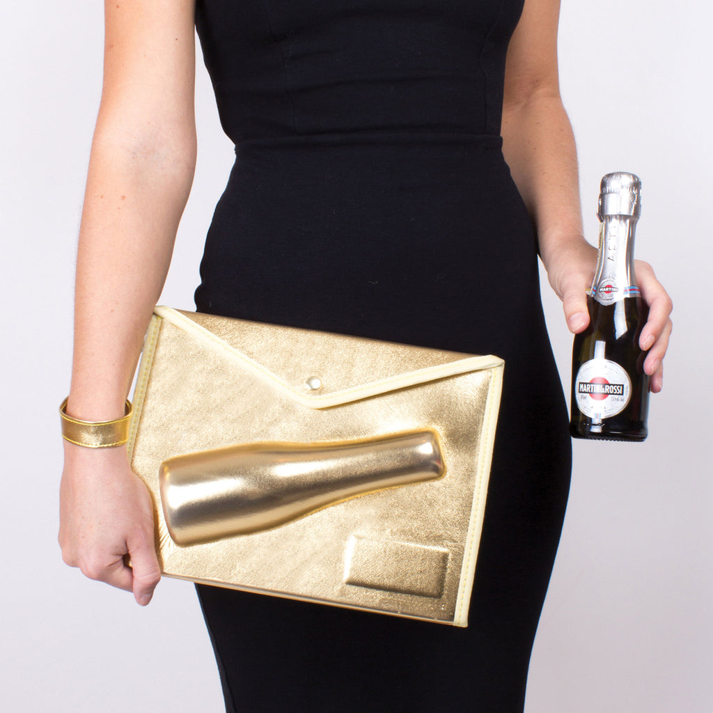 small gold 3d champagne pouch lifestyle