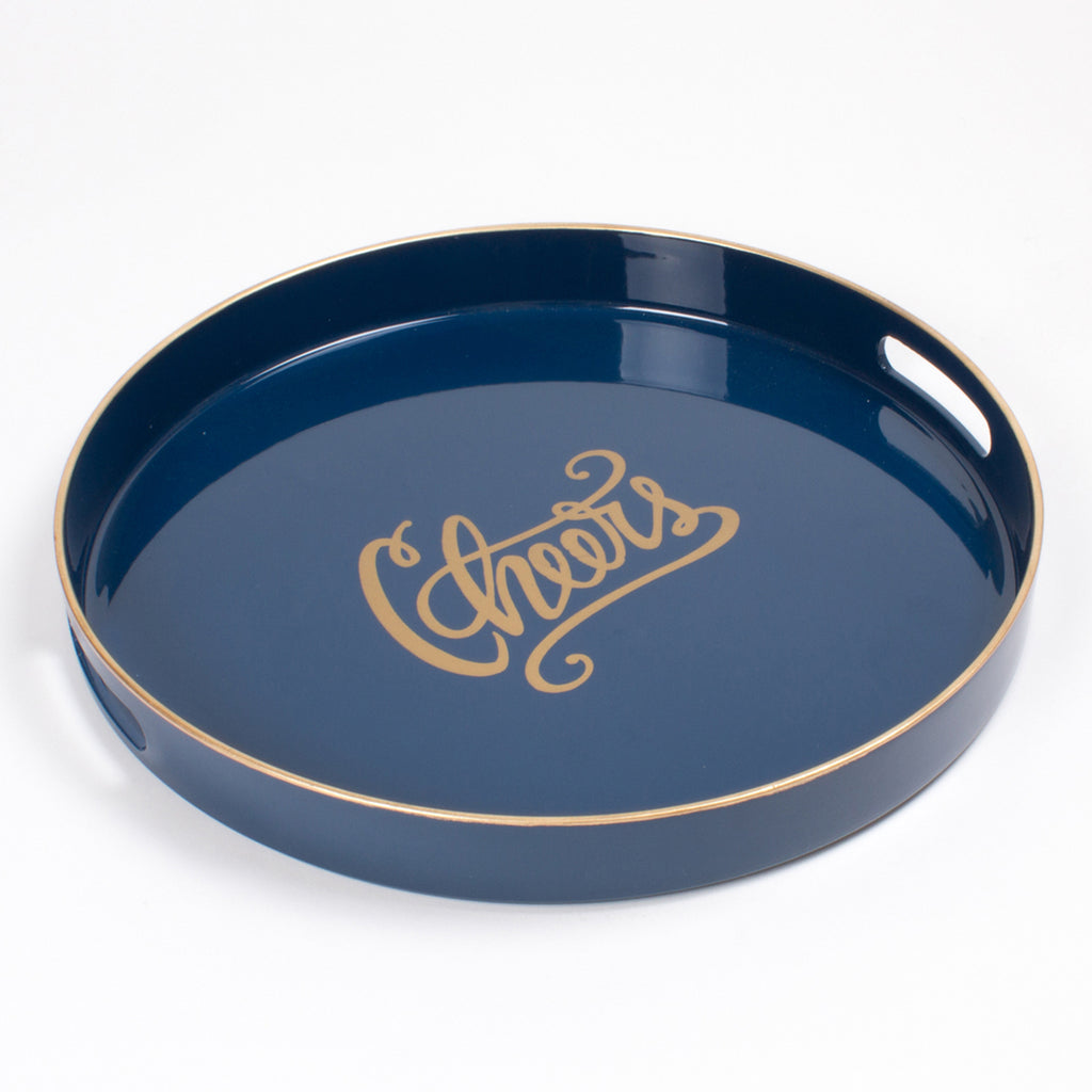 cheers navy blue round tray