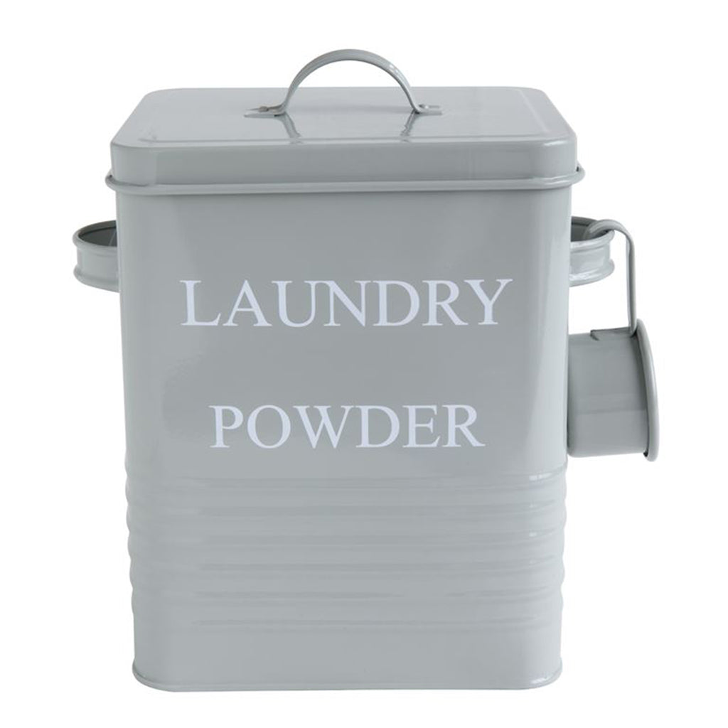 laundry powder container gray metal front