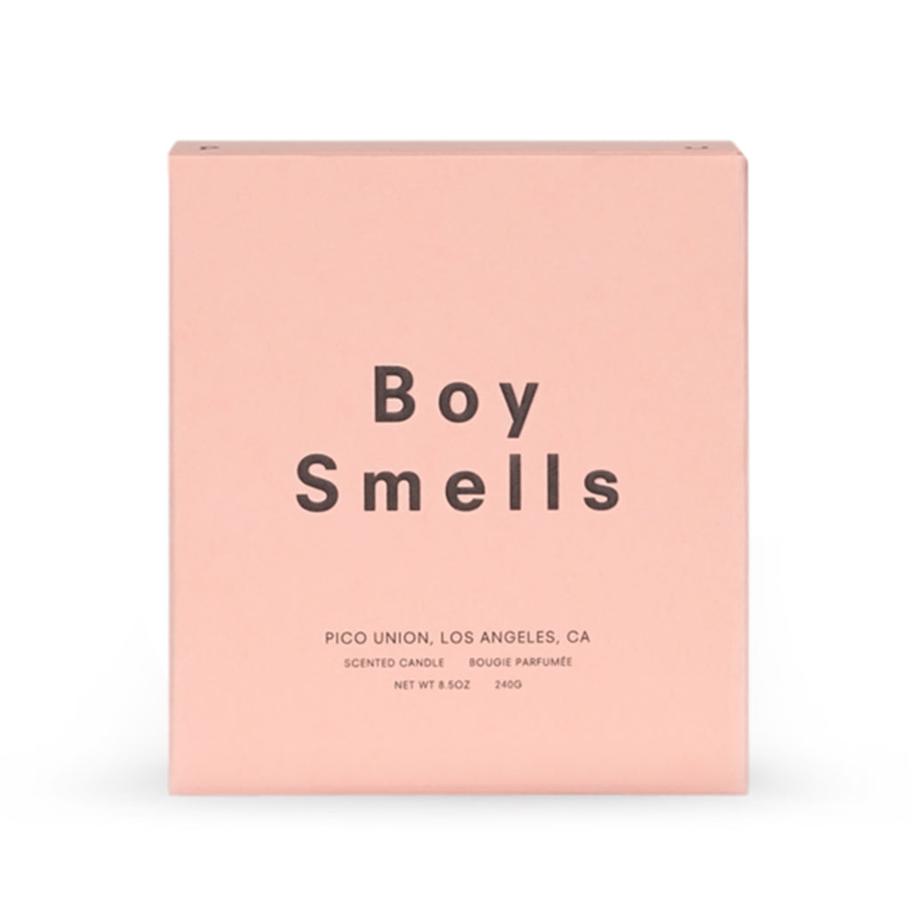 boy smells candle gift box packaging