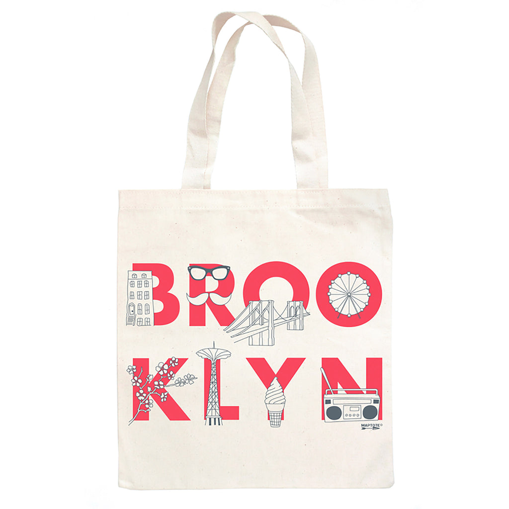 maptote brooklyn font natural canvas tote shopping bag