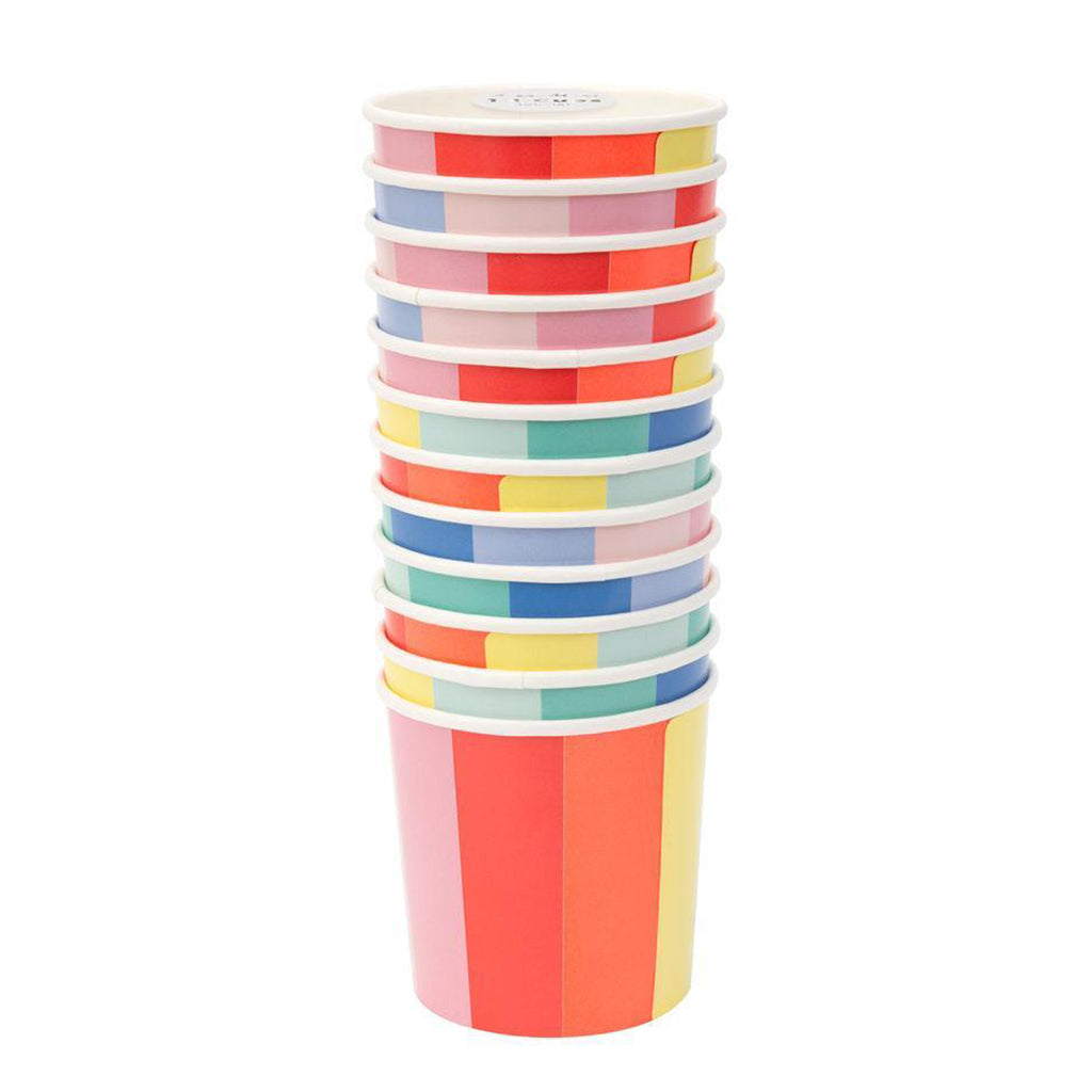 stack of color wheel tumbler party cups