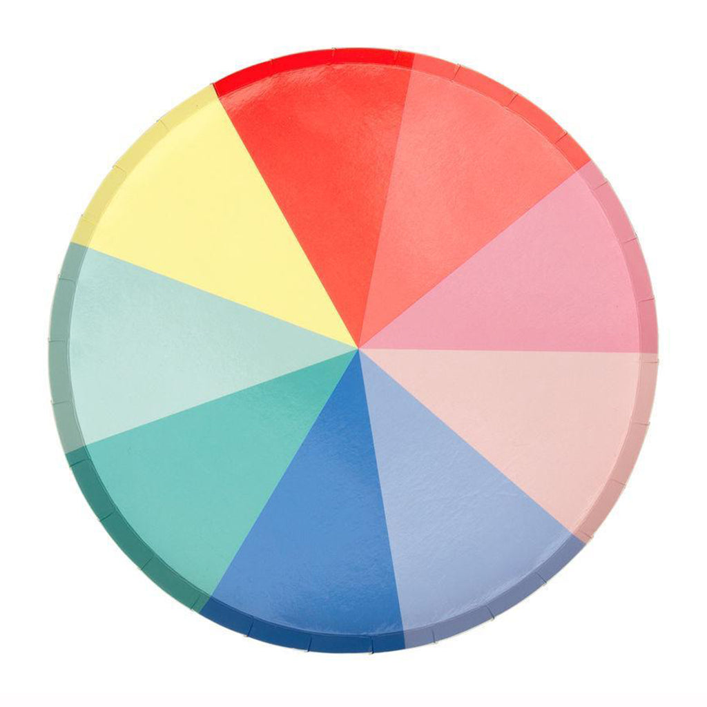 color wheel small party plate