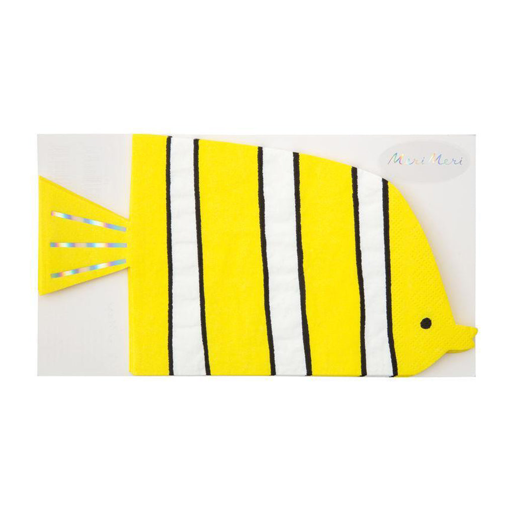 yellow fish napkin with white and black stripes