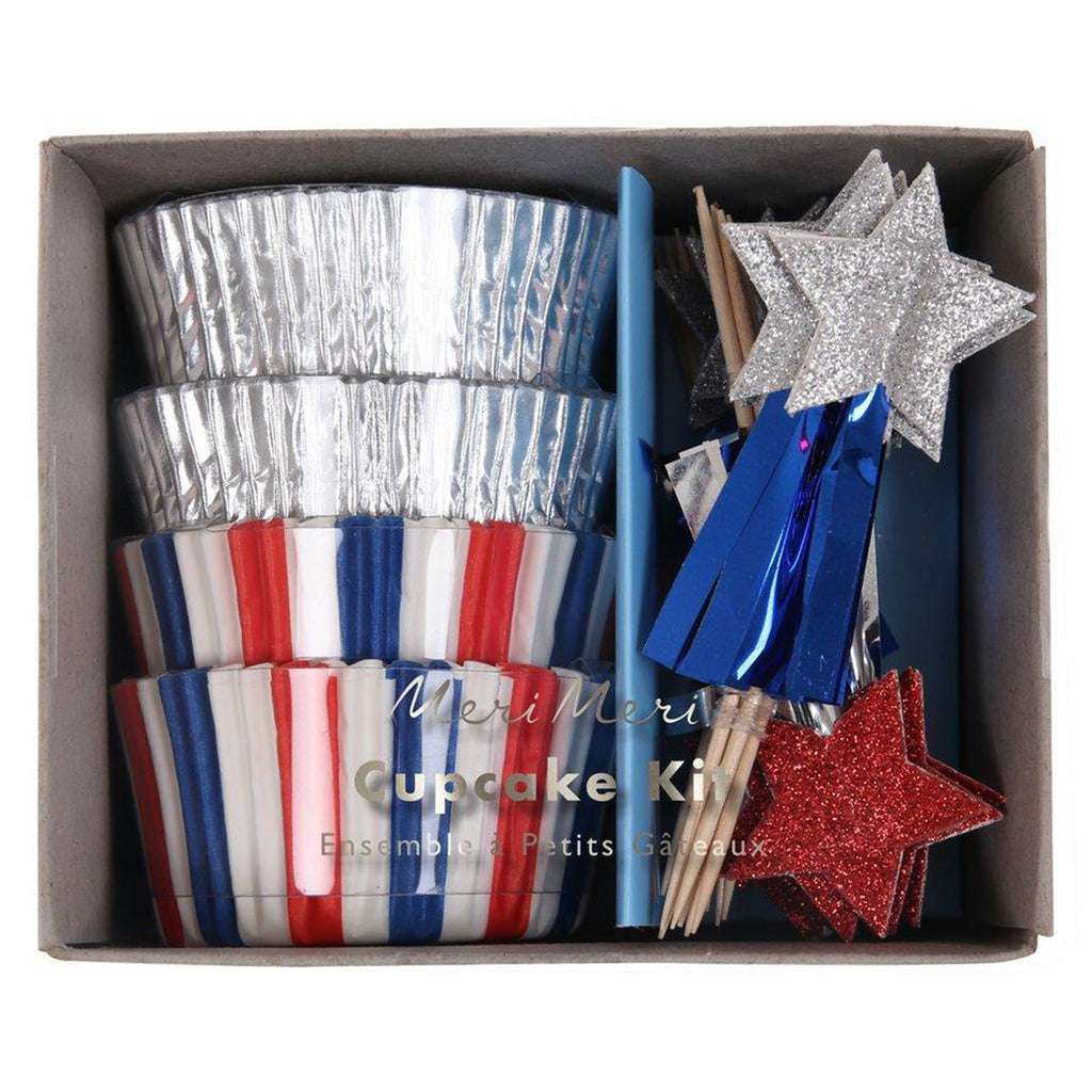 red white and blue cupcake kit
