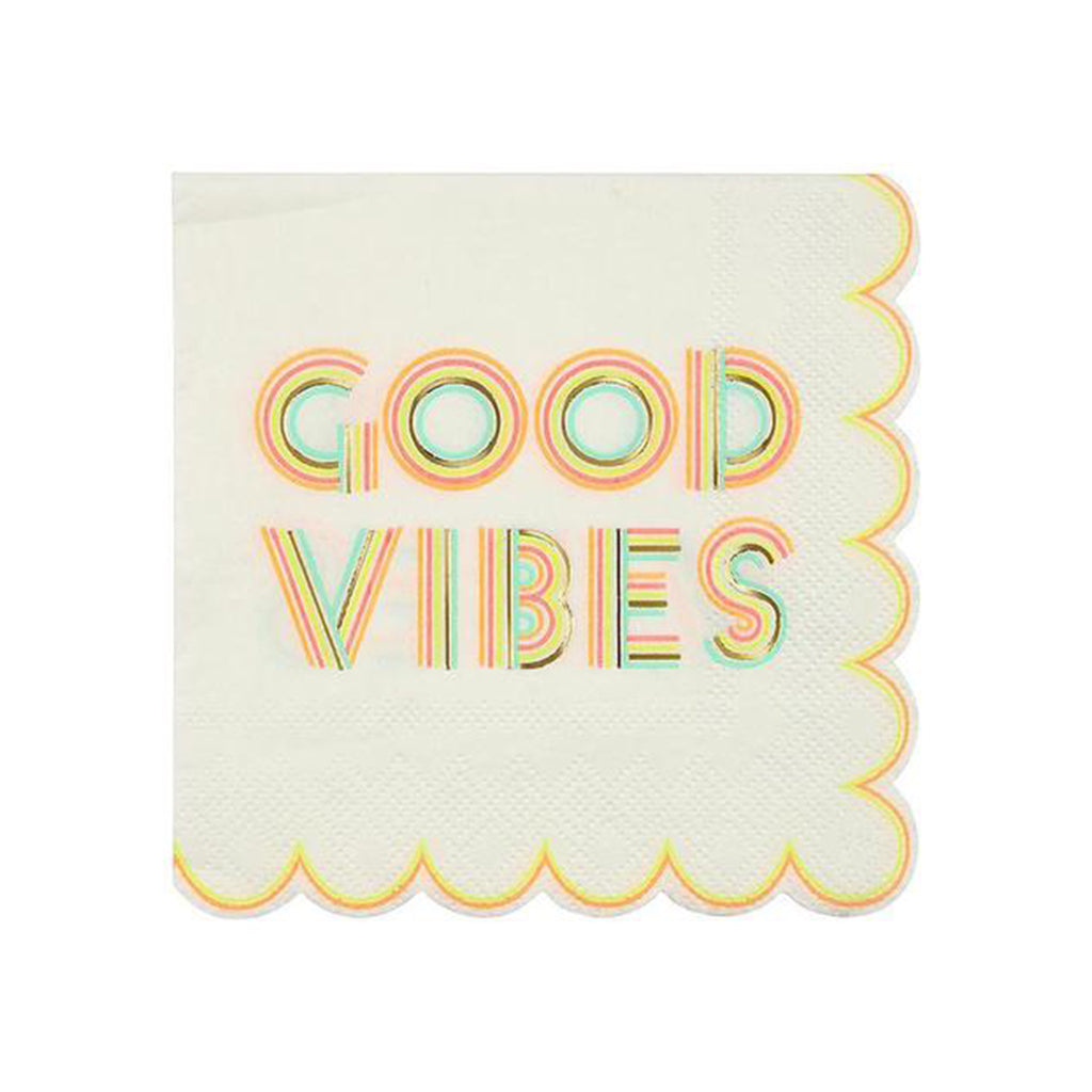 good vibes small cocktail napkin