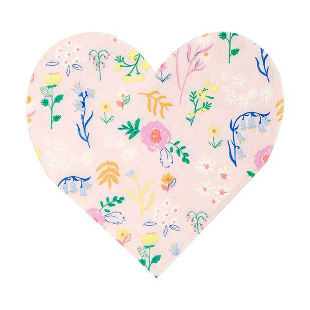 meri meri wildflower pink floral heart shaped napkins