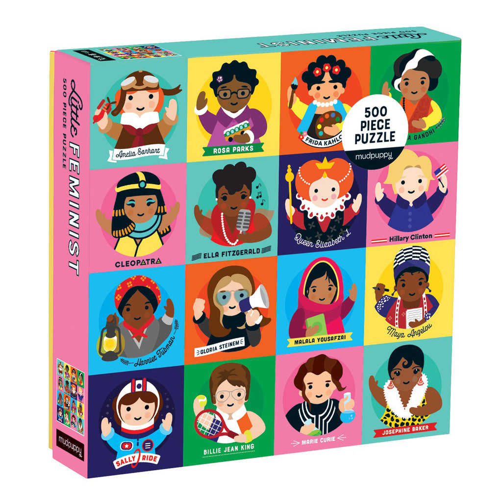 mudpuppy 500 piece little feminist jigsaw puzzle front of box