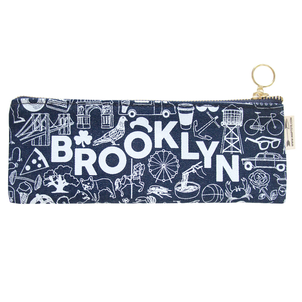 maptote brooklyn denim pencil pouch