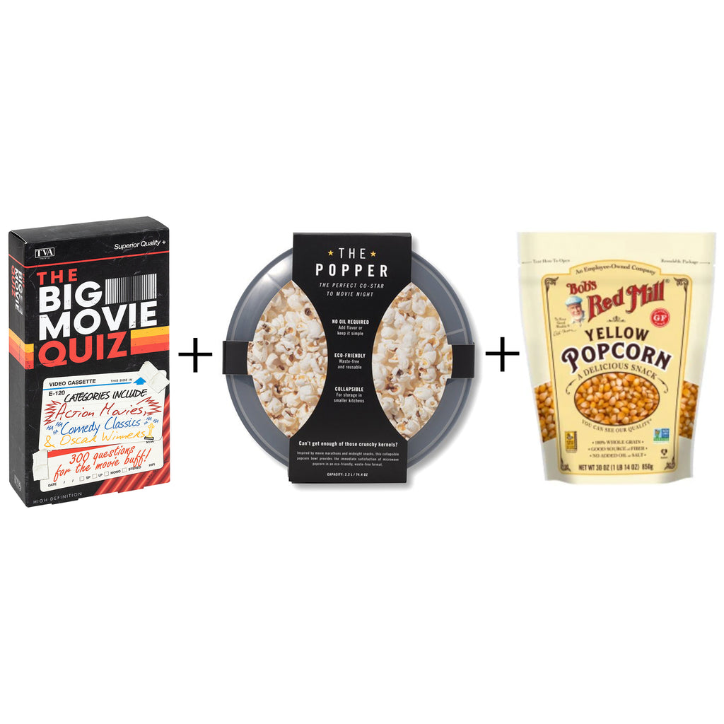 movie night gift box with big movie quiz popcorn popper and popcorn kernels
