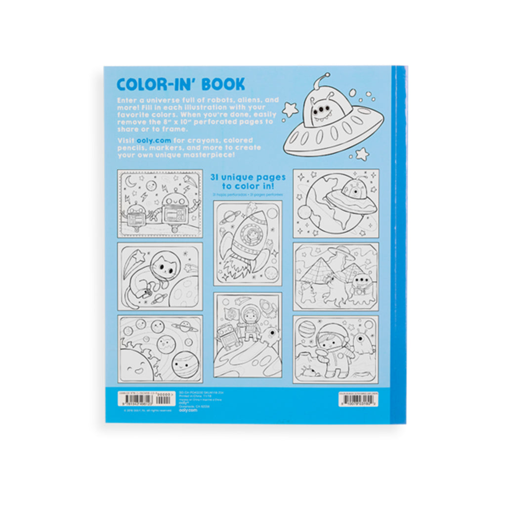 outer space explorers coloring book back