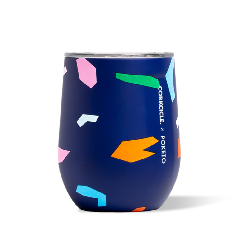 blue confetti corkcicle stemless wine cup