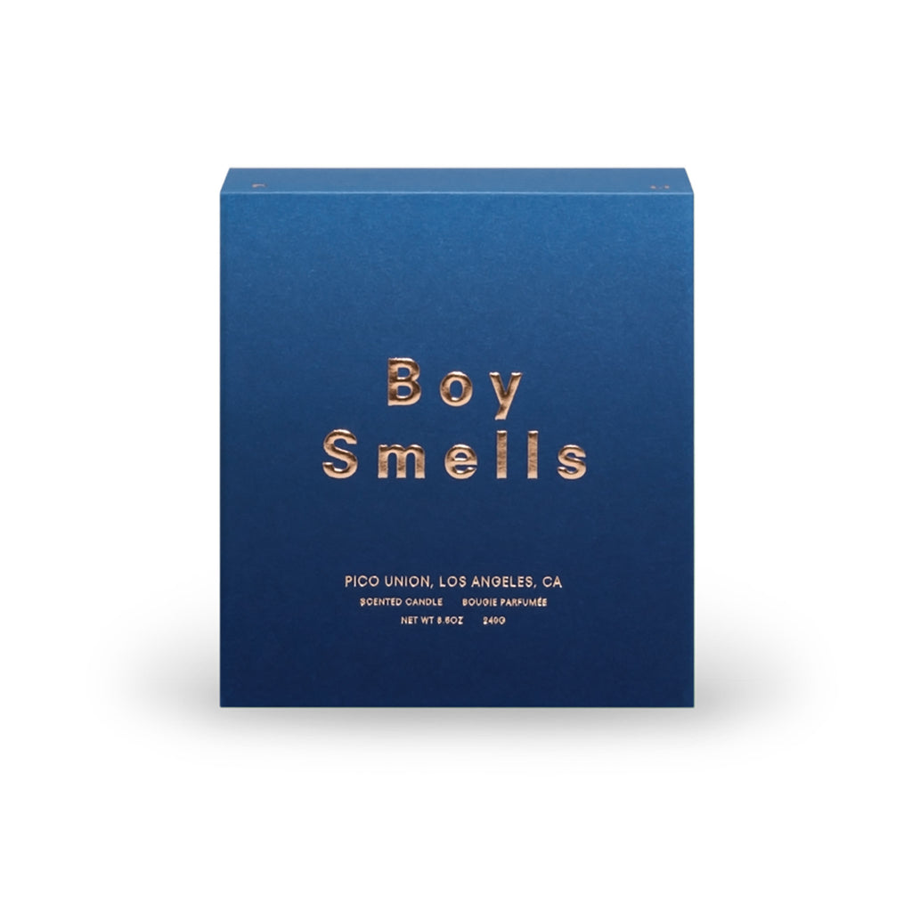 navy blue ombre gift box with the words Boy Smells in metallic gold
