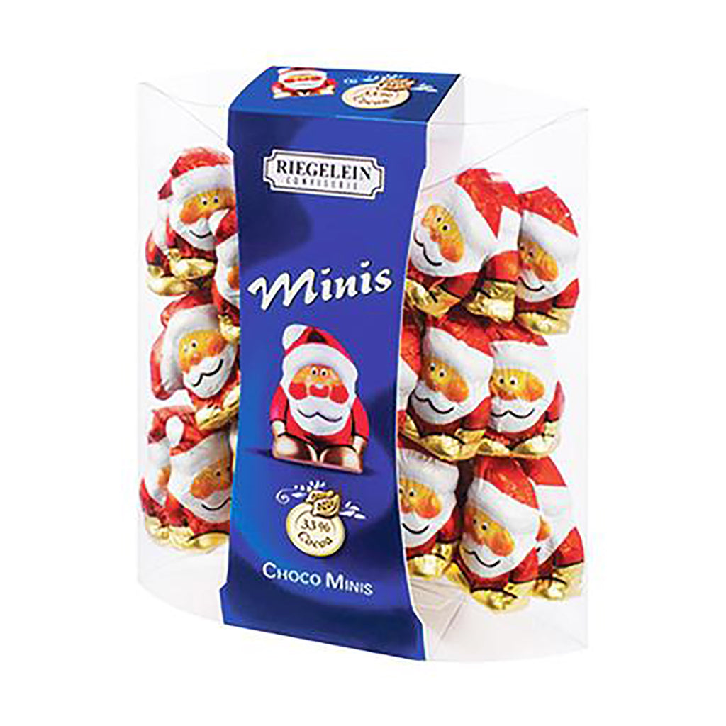 mini chocolate santas wrapped in chocolate in clear plastic pouch