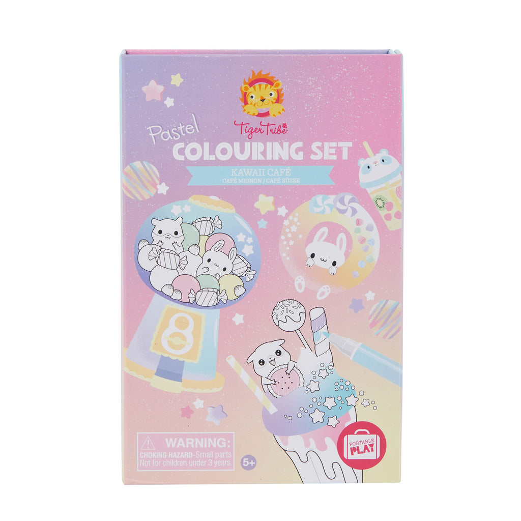 Schylling Tiger Tribe Pastel Coloring Set Kawaii Cafe packaging front