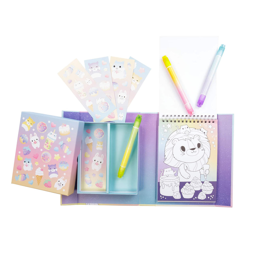 Schylling Tiger Tribe Pastel Coloring Set Kawaii Cafe contents