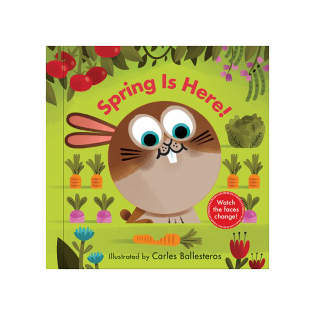 abrams spring is here a changing faces interactive board book cover