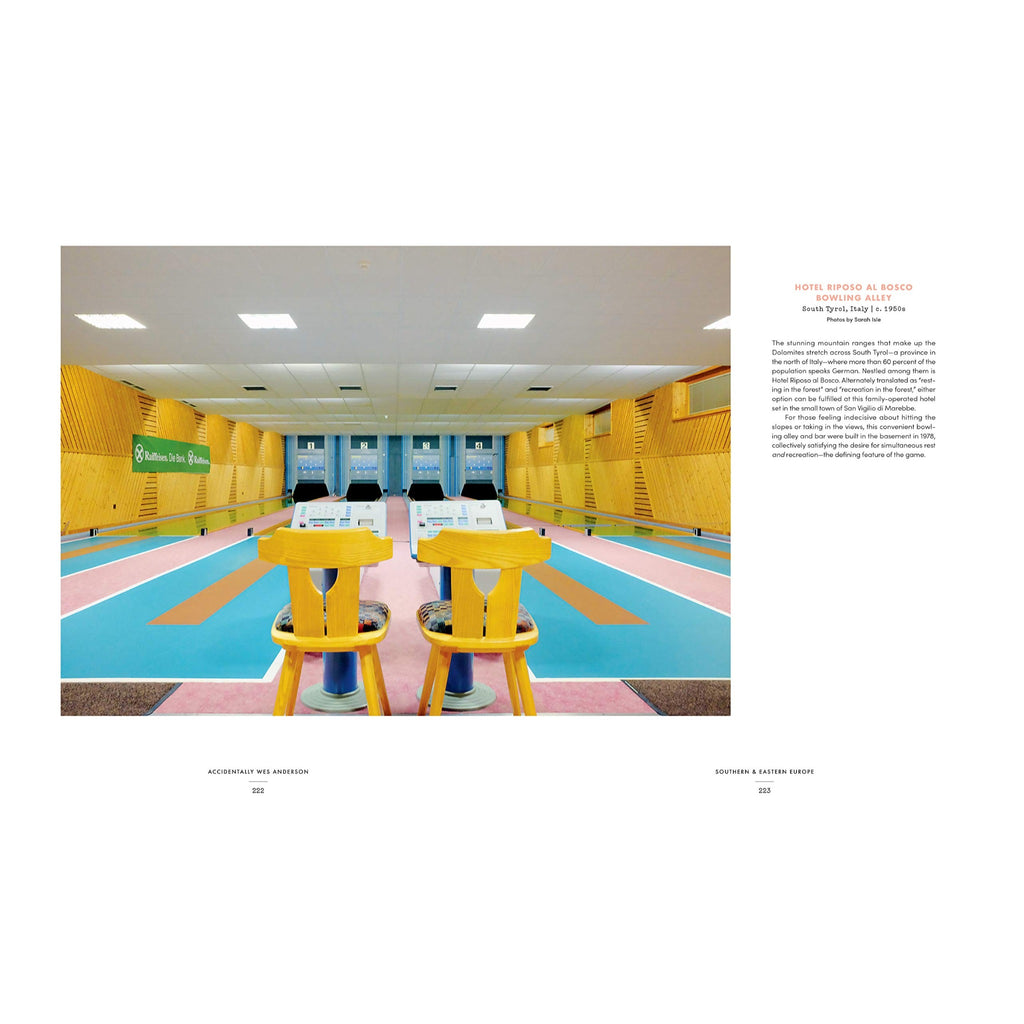 detail page with a photograph of bowling alley in pastel colors