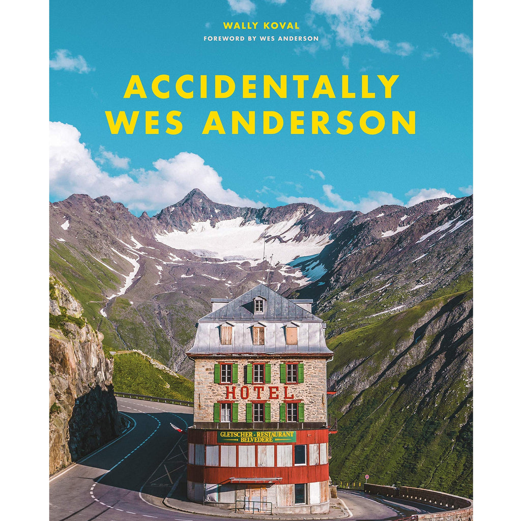 book cover with photograph of a european hotel surrounded by mountains