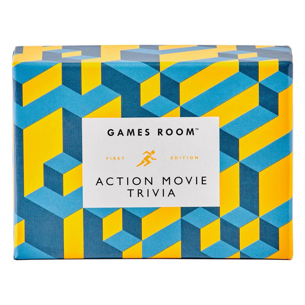 action movie quiz in yellow and blue geometric design box