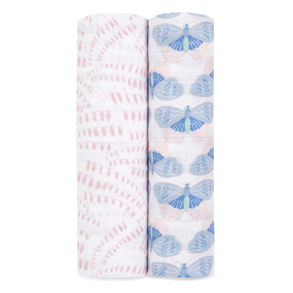 aden + anais classic cotton muslin baby swaddle blanket 2 pack deco prints