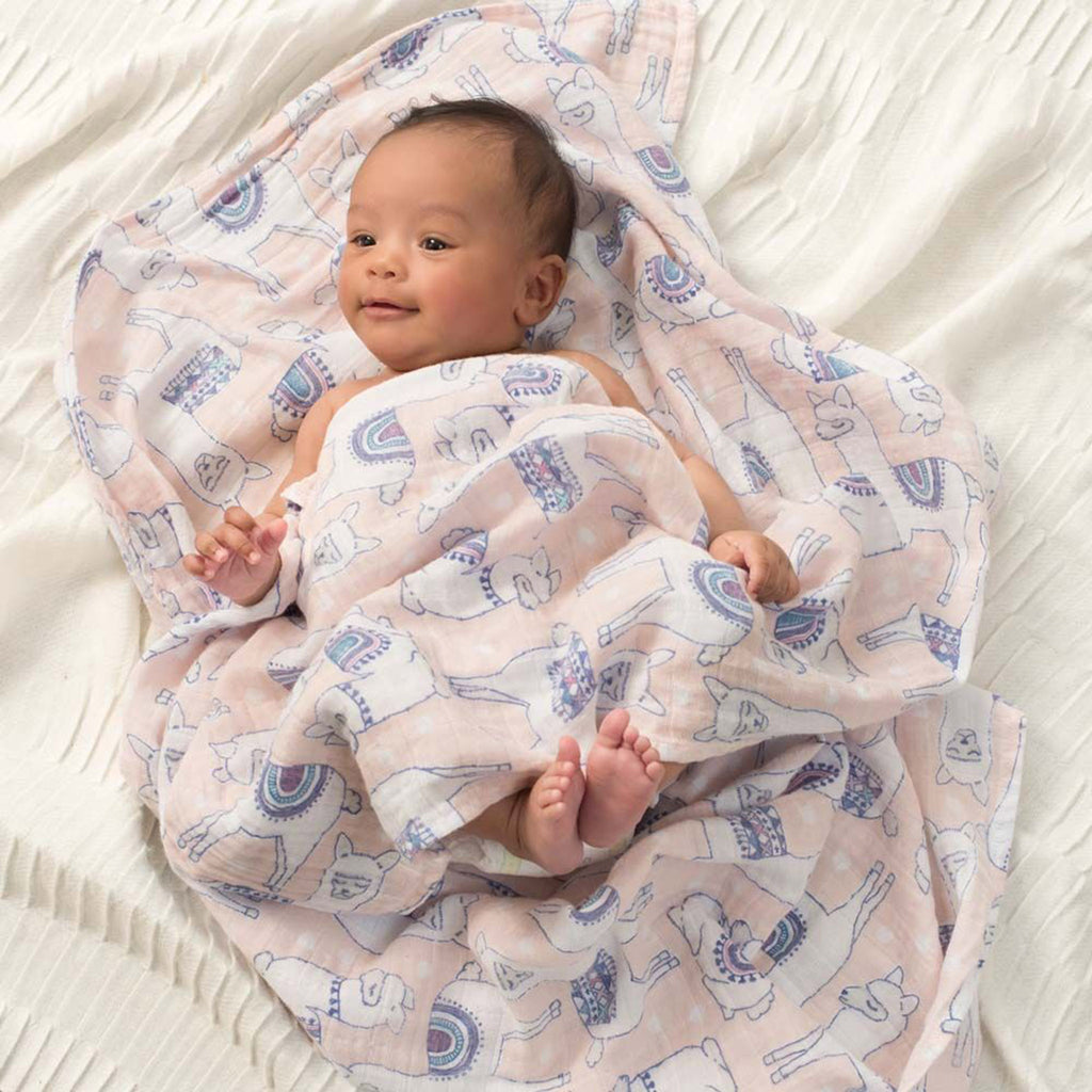 aden + anais classic cotton muslin baby swaddle blanket 4 pack trail blooms print on baby