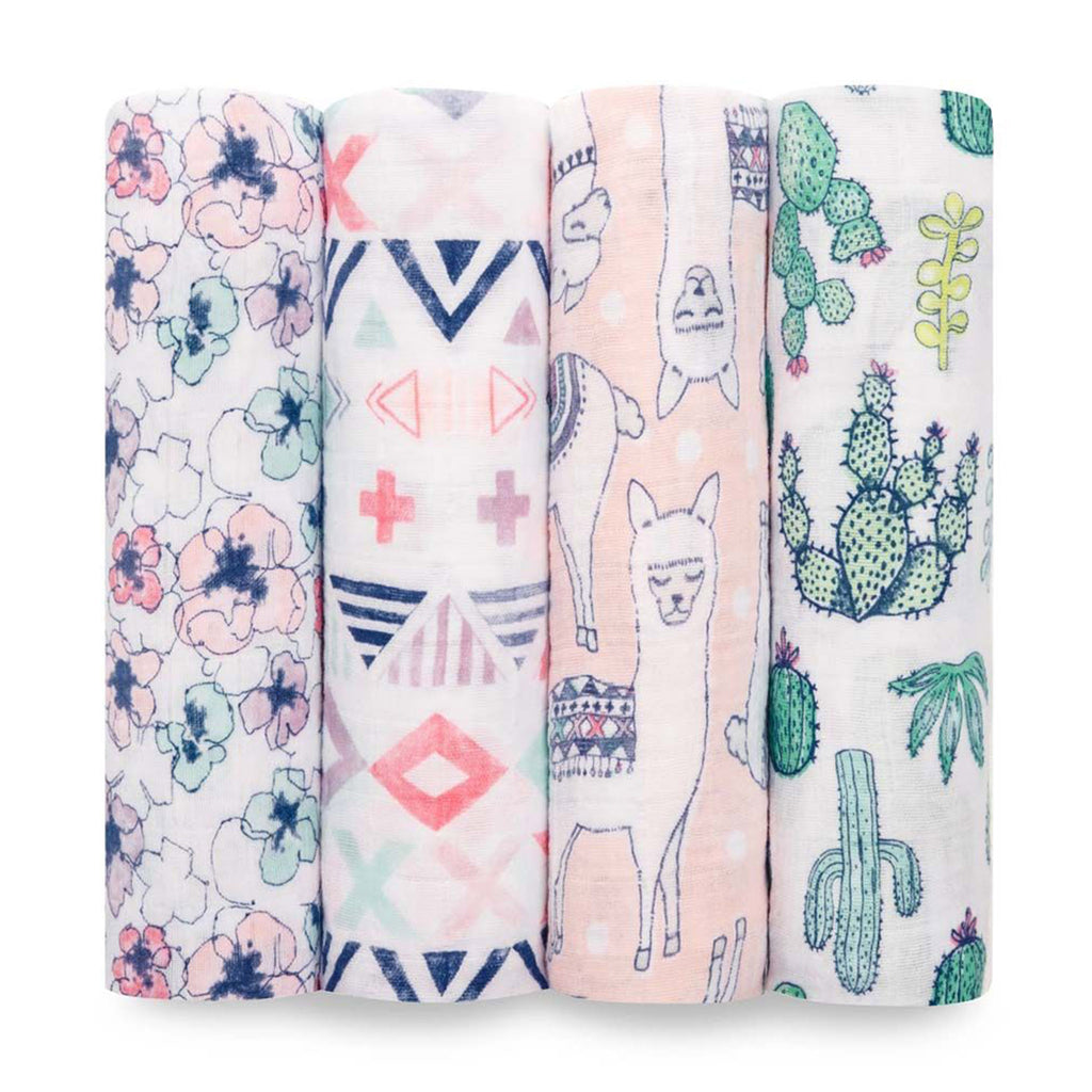 aden + anais classic cotton muslin baby swaddle blanket 4 pack trail blooms print