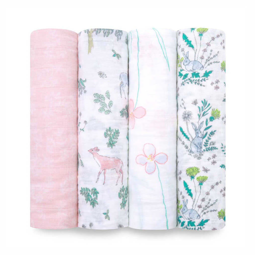 aden + anais classic cotton muslin baby swaddle blanket 4 pack forest fantasy patterns