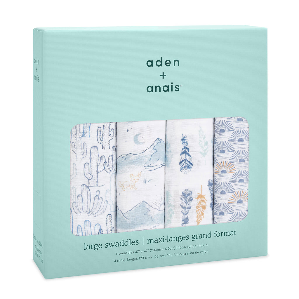 aden + anais classic cotton muslin baby swaddle blanket 4 pack sunrise prints in packaging