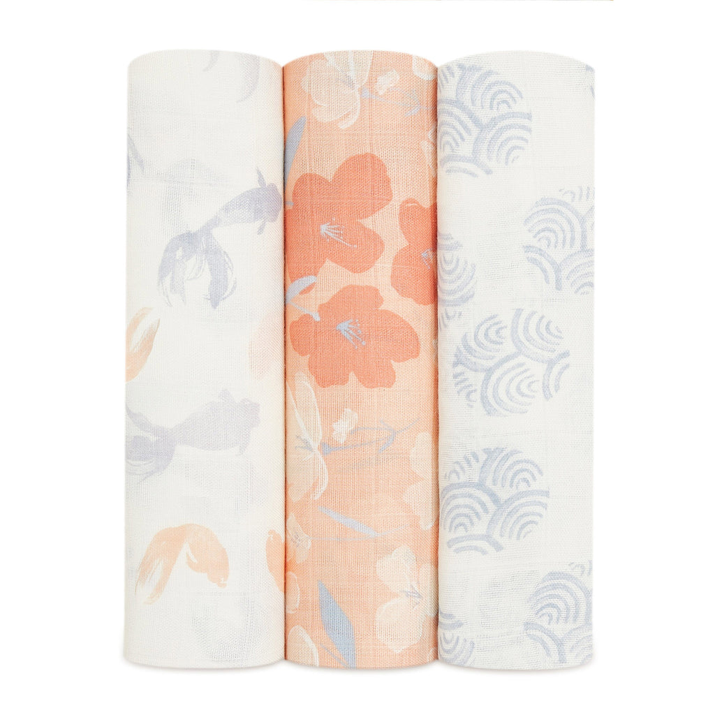 aden + anais silky soft cotton muslin baby swaddle blanket 3 pack koi pond