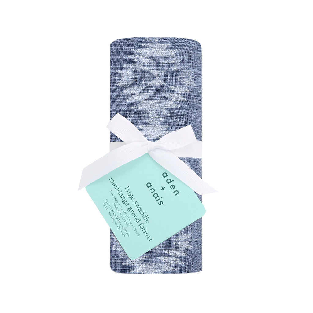 aden + anais single classic cotton muslin baby swaddle blanket in southwest chambray geo print pattern in packaging