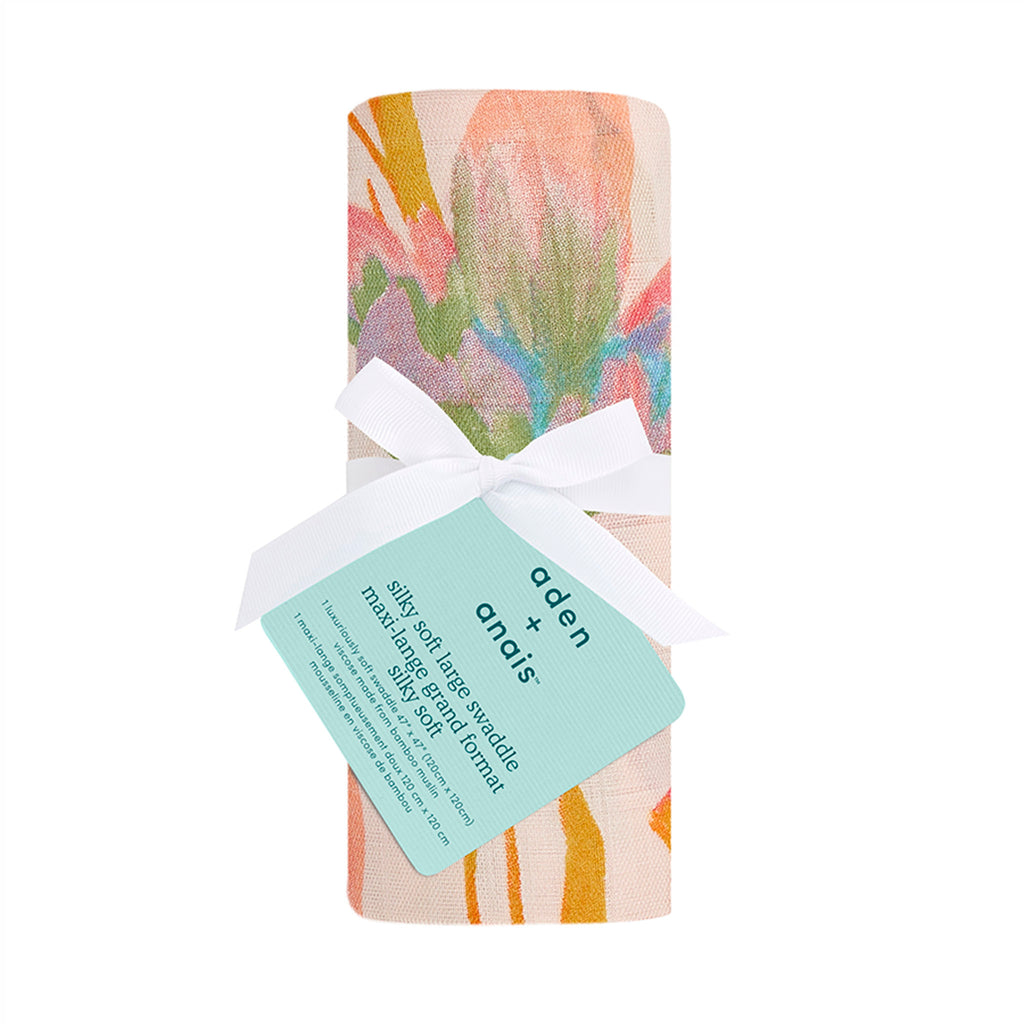 aden + anais single silky soft bamboo muslin baby swaddle blanket in marine gardens floral seaweed print pattern in packaging