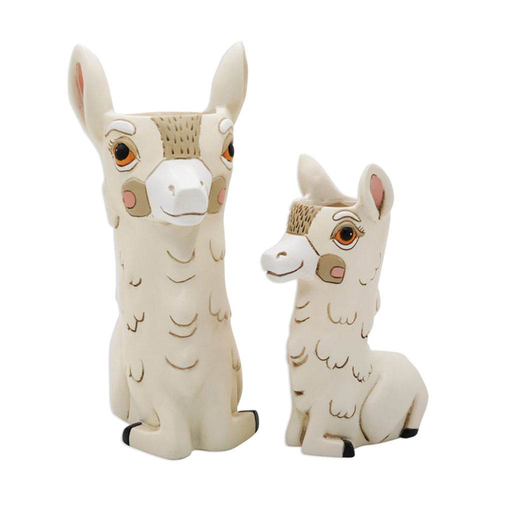 allen designs baby llama with regular size llama love decorative planter vase