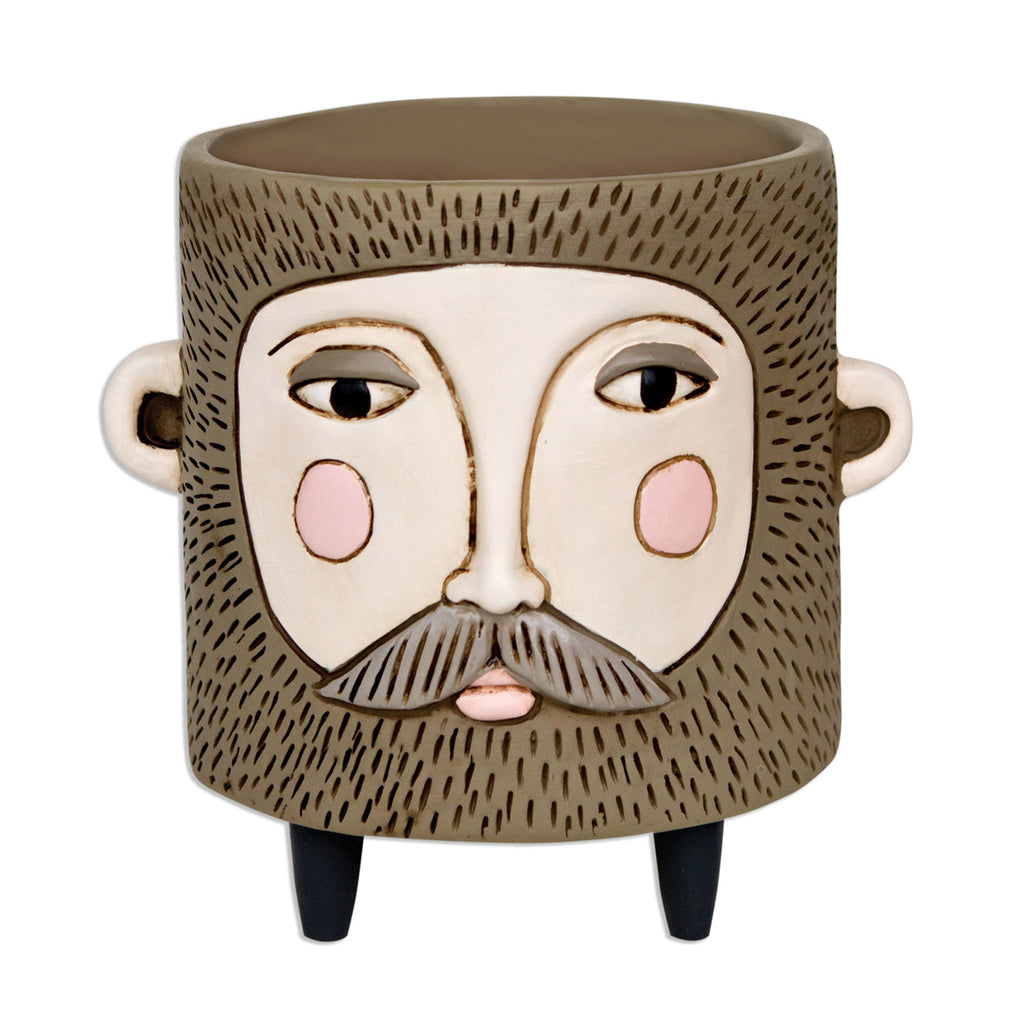 allen designs hairy jack bearded man indoor decorative planter