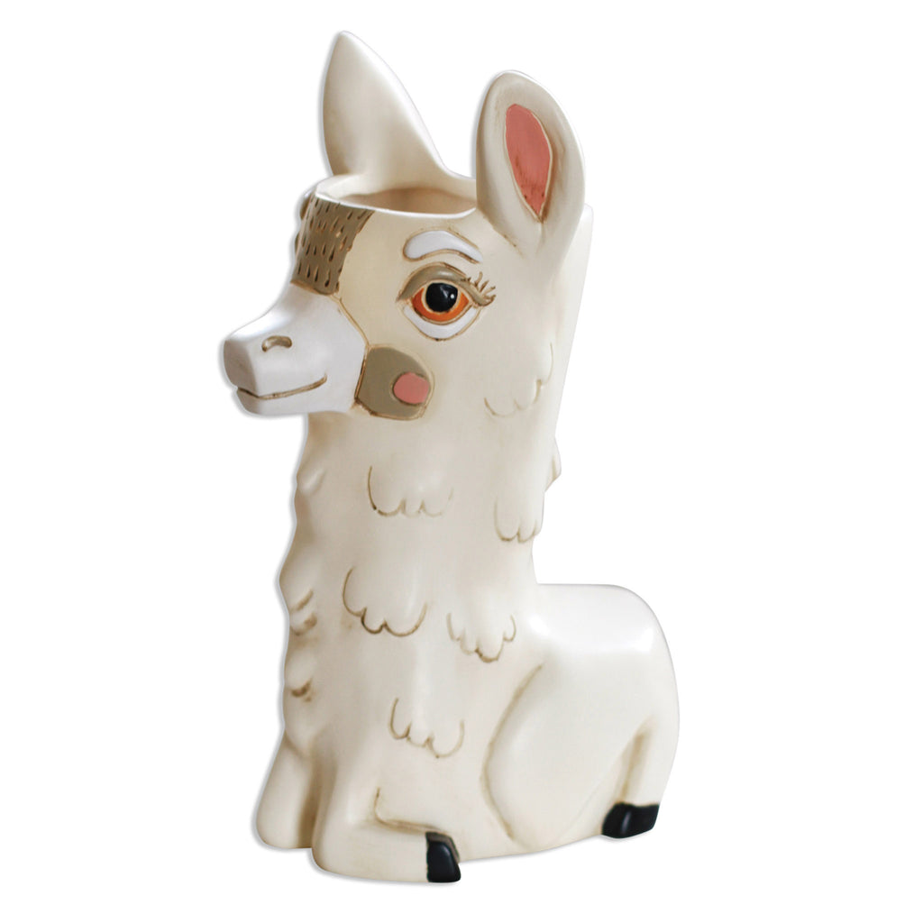 allen designs llama love decorative indoor planter vase