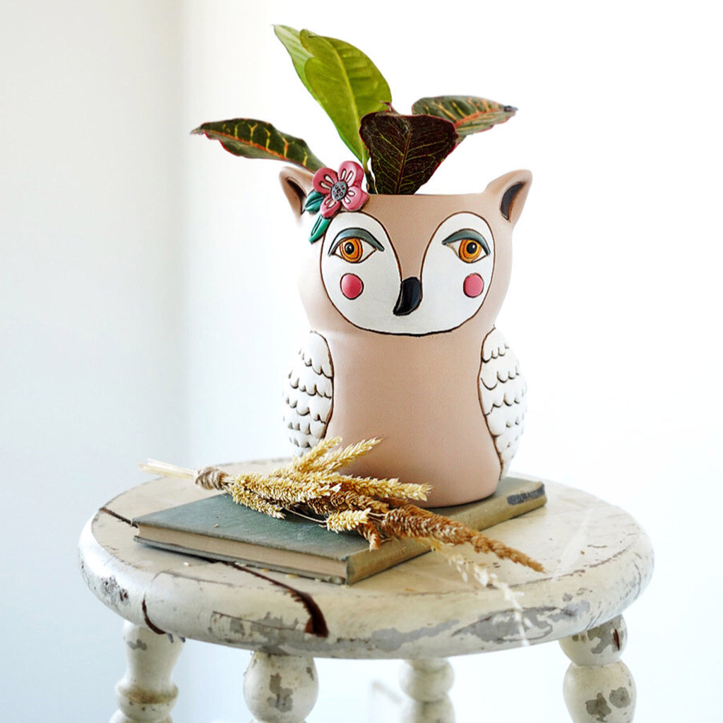 allen designs sweet owl indoor decorative planter with plant in room setting