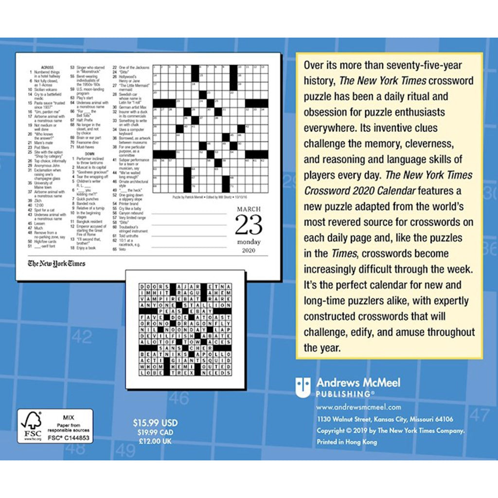 andrews mcmeel 2020 the new york times crossword puzzles daily calendar box back