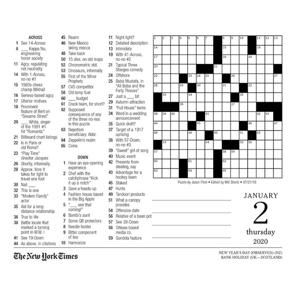 andrews mcmeel 2020 the new york times crossword puzzles daily calendar january 2 puzzle